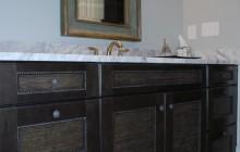 Dark Wooden Cabinets in Bathroom